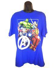 Marvel Comics Size Large Shirt Blue Thor Iron Man Hulk Captain America Hero Imag