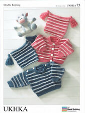 Baby DK Double Knitting Pattern Childrens Striped Cardigan Jumper Hat UKHKA 75