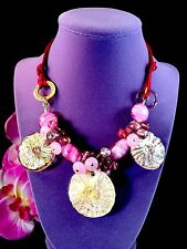 GORGEOUS ANTICA MURRINA MURANO PINK AMETHYST BEADS SAND DOLLAR NECKLACE PENDANT