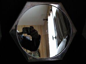 *3085* très joli miroir et son pied en métal argenté à pan coupé art déco