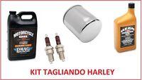 KIT TAGLIANDO HARLEY DAVIDSON OLIO + FILTRO CROMO + CANDELE SOFTAIL ALL MODEL