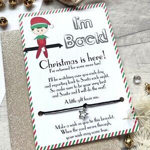 Christmas Elf  - I'm Back Card and Wish Bracelet - Xmas Eve Box Filler Boy Girl