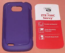 Straight Talk Gel Case for ZTE 750C Savvy, one part Purple Matte slip on, NEW