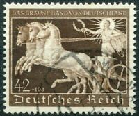 THIRD REICH Mi. #747 scarce used Braunes Band Horse Race stamp! CV $42.00