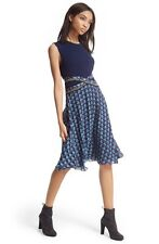 DIANE Von Furstenberg ROSALIE Mixed Media Fit & Flare Dress Navy DVF 4- S Silk
