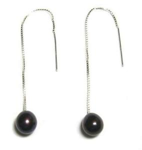 AAA Black Pearl 925 Sterling Silver Box Chain Earring Threads