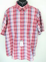 Tommy Hilfiger Men's Size XXL Red Plaid Short Sleeve Button Up Shirt NWT