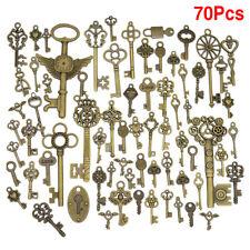 70Pcs/Set Mixed Shapes Antique Bronze Key Charms Pendant DIY Jewelry Crafts H1