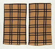 "2 Black PLAID Brown Windowpane Terry Cloth Kitchen Towels 16"" x 26"""