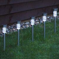 10 x Solar Stainless Steel White LED Post Stake Lights Garden Border Lanterns UK
