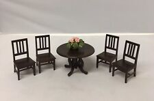 Dollhouse Miniature Furniture Dining Table With Chairs Solid Wood Dark Brown