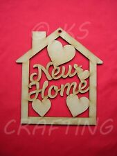 NEW HOME PLAQUE 18cm x 20cm LASER CUT MDF WOODEN SHAPE