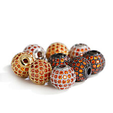 10mm Brass Red Micro Pave Cubic Zirconia Ballls Connector DIY Loose Beads Crafts