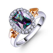 Rainbow & White Topaz & Tanzanite Gemstone Jewelry Silver Ring Size 6 7 8 9 Gift