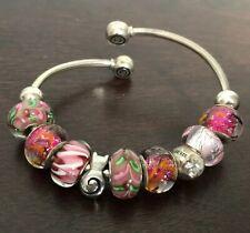 CHAMILIA CHAM 925 Sterling Silver Slide European Cuff Charm Bracelet Pink Glass