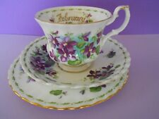 ROYAL ALBERT FLOWER OF THE MONTH SERIES FEBRUARY VIOLETS 3 PIECE BONE CHINA