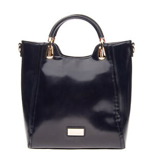PIERRE CARDIN Tote Bag Polished PU Leather Logo Detail Structured Zip Closure