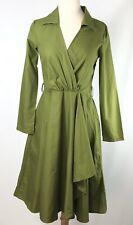 Womens Dress V Green Fit & Flare Long Sleeve Dress Size M