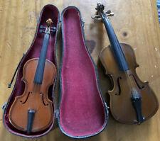 2 Vintage Miniature Violin & Bow Musical Instrument Decorative Ornament Treen