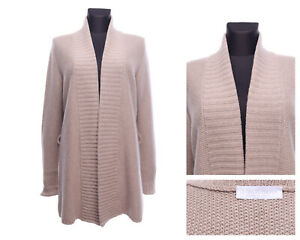 LE TRICOT PERUGIA Italy Beige Cashmere Wool Silk Open Cardigan Size L