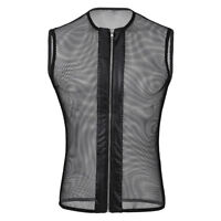Men Sleeveless See-through Mesh Fishnet Zipper Muscle Tank Top T-Shirt Costumes
