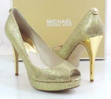 Michael Kors York Evening Platform Open Toe Pumps Heels Gold Glitter Size 10