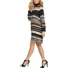DKNY Womens Black Animal Print Turtleneck Above Knee Shift Dress XL BHFO 6765