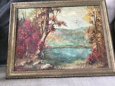 THURSTON PAINTING  ANTIQUE OIL LAKE VIEW