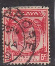 (K109-127) 1937 Malaya 6c red KGVI (EN)
