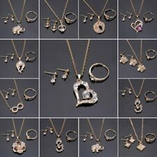 Prom Gold Crystal Heart Necklace Earrings Ring Bridal Wedding Jewellery Set Gift