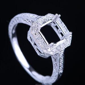 CUSHION CUT 7x7MM SOLID 10K WHITE GOLD NATURAL DIAMOND SEMI MOUNT SETTING RING