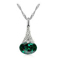 Crystal Emerald Green & Silver Oval Water Drop Pendant Crystal Necklace N403