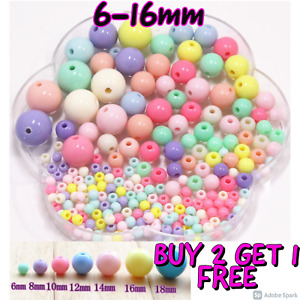 Children ACRYLIC Round BEADS Mixed Pastel Baby Colour Gems Kids Xmas Cute Gift