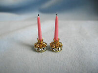 dollhouse doll house miniature FANCY CANDLE HOLDER CANDLE SET PINK