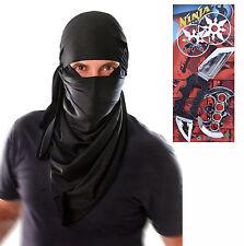 Mens Adult Ninja Hood Fancy Dress Costume with Toy Set