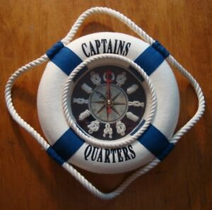 NAUTICAL CAPTAIN'S QUARTERS BOAT COMPASS SAILOR KNOTS CLOCK Sailing Home Decor