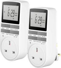 2X Electronic Digital Timer 12/24 Hour Switch 7 Day Socket UK Plug Programmable