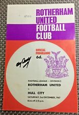 ROTHERHAM UTD v HULL CITY - 02/12/67 - DIVISION 2 - SIGNED BY TOMMY DOCHERTY