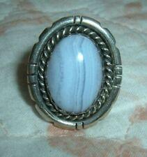 Design Sterling Silver Ring Sz 61/2 Ken Martinez Navajo K.Mtz Larimar Oval Rope