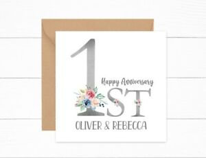 Personalised 1st Anniversary Card Paper Wedding Couple Daughter Son Friends