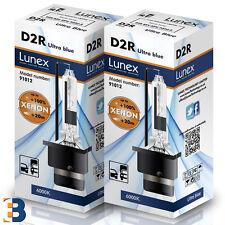 2 x D2R Genuine LUNEX XENON BULB  P32d-3 Original 35W 6000K Ultra Blue + 80%