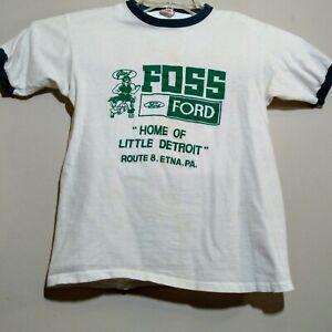 60's Hanes Cotton Medium38/40 FOSS Ford Dealership Ringer TShirt VintageOldStock