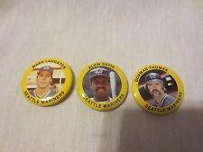 Vintage 1984 Seattle Mariners  Team Set Fun Food all 3 Pins MLB Baseball Pinback