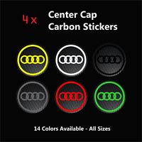 4x AUDI Badge Logo Carbon Center Caps Alloy Wheel Hub Stickers - All Model Sizes
