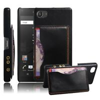 Retro PU Leather Coated Hard Back Case Cover Black For Sony Xperia Z5 Compact