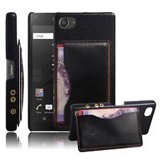 Para Sony Xperia Z5 Compacto Retro Recubierto de Cuero PU Funda Rígida posterior Cubierta-Negro