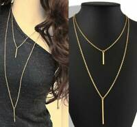 Women Stylish Gold Plated Long Sweater Chain Cute Vertical Bar Pendant Necklace