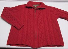 Inis Crafts Cable Knit Zip Sweater Women's S Small 100% Merino Wool Red Ireland