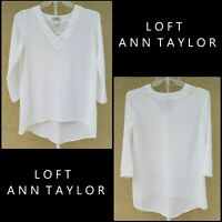 Ann Taylor Loft Women Long Sleeve High & Low Career Formal Blouse Size XS White