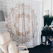Lotus Floral Curtains Antique Decor Bohemian Golden Window Panel Drapes Bohemian
